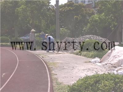 塑胶跑道场地施工现场(上海电力工业学校)
